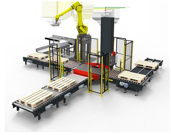 Línea de paletizado con robot y enfardado automático con transportadores de rodillos motorizados y cadenas