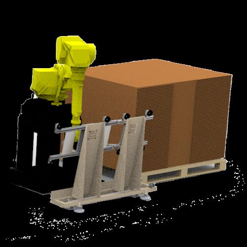 Brazo robótico antropomórfico junto con almacén y posicionado de cartones en linea.