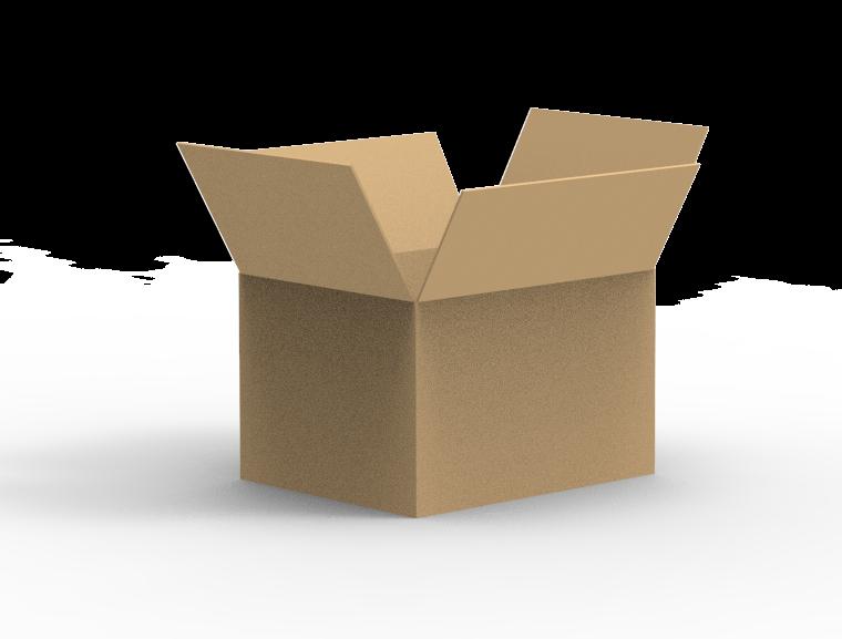Caja de cartón con solapas superiores abiertas