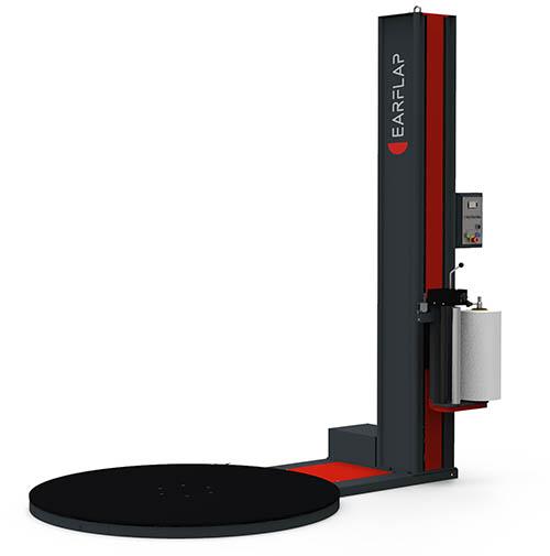 Máquina envolvedora, enfardadora, enplayadora de cargas paletizadas con film retráctil y plataforma giratoria semiautomática modelo 200