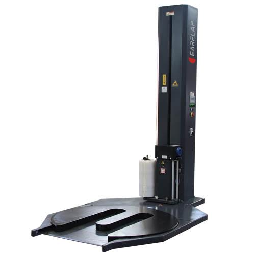 Enplayadora, envolvedora, enfardadora de cargas paletizadas con film retráctil semiautomática de plataforma giratoria adaptada a transpaleta modelo 600TP