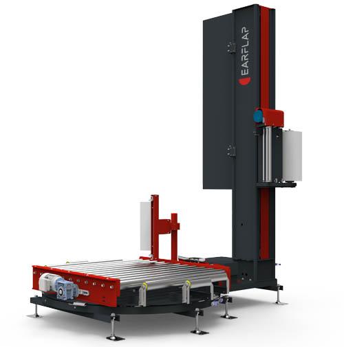 Enplayadora, enfardadora, envolvedora para cargas paletizadas con film retráctil automática en línea modelo TRM500